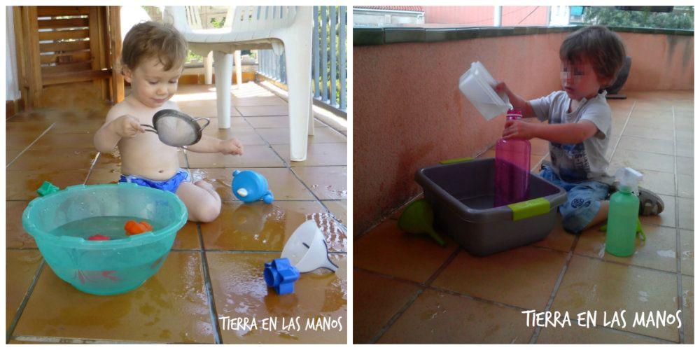 jugar con barreños agua