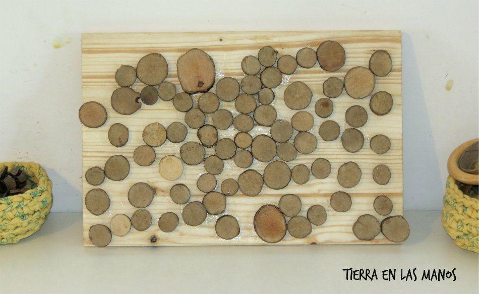 cuadro círculos madera