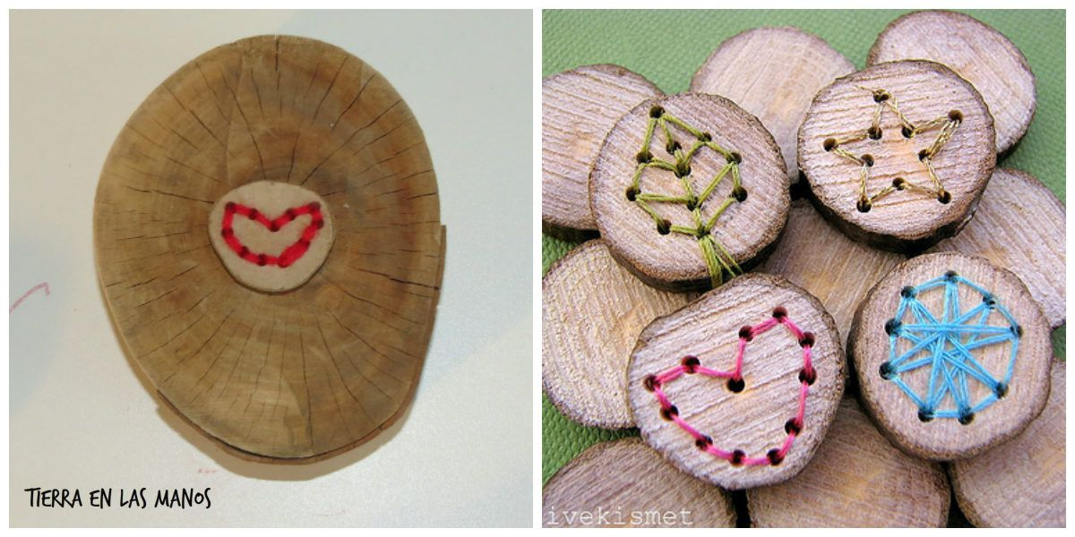 enebrar formas rodajas madera