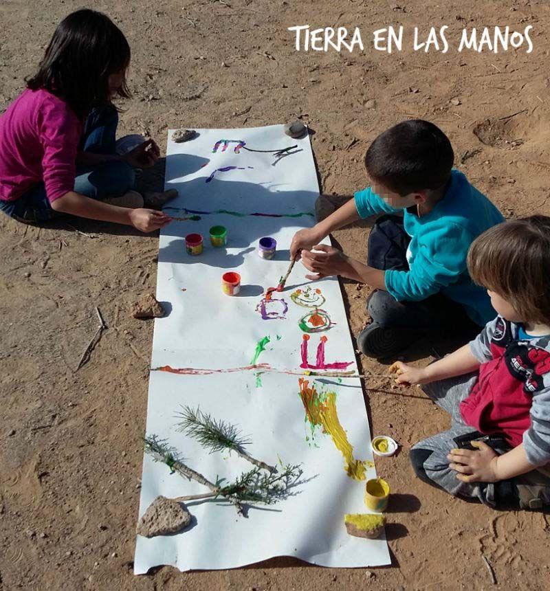 8 ideas para pintar al aire libre tierra en las manos - Pintar mural en pared ...