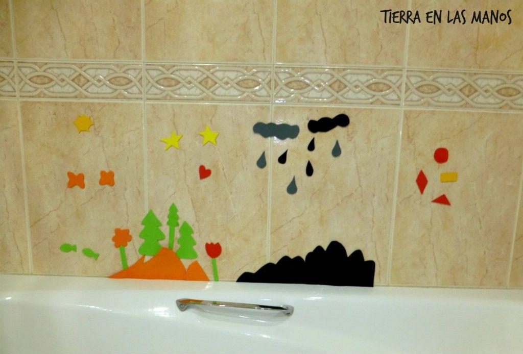 paisaje goma eva bañera