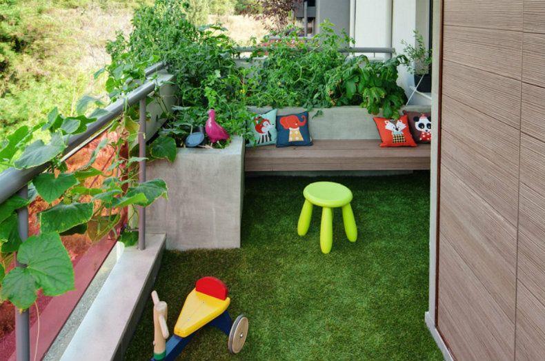 césped artificial suelo balcón