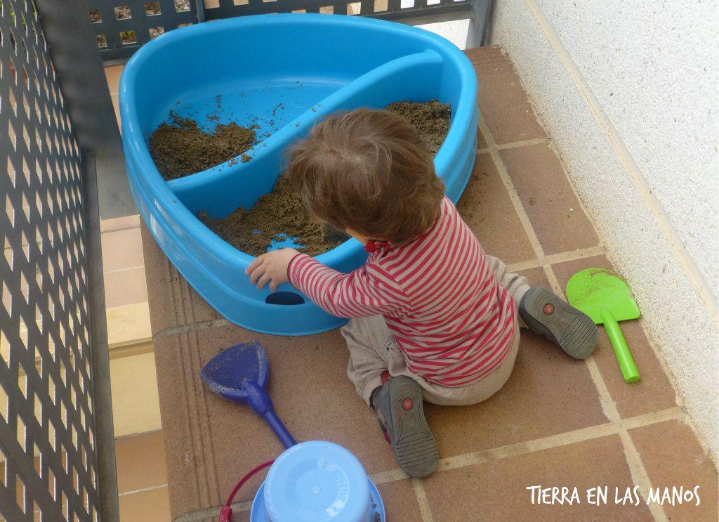 preparar un balcón para niños - arenero